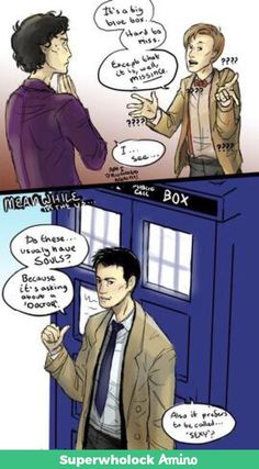 Sherlock/Doctor Who/Supernatural. The Angel has the Phone Box and Holmes is on the case.