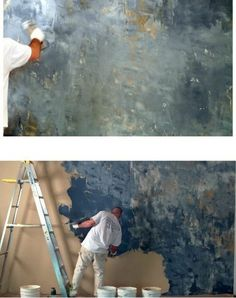 Part Two of the finishes I learned at Amy Howard at Home workshop is Venetian Plaster. See my previous post on decorative finishes. Art Mural, Wall Murals, Tadelakt, Home Workshop, Wall Finishes, Faux Paint Finishes, Paint Effects, Wall Treatments, Textured Walls