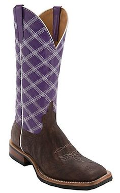 Anderson Bean Horse Power Mens Chocolate Shoulder w/ Purple Top & Diamond Stitch Square Toe Boots