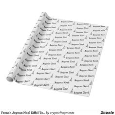 French Joyeux Noel Eiffel Tower Christmas Wrapping Paper
