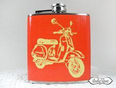 Flask 6oz Vespa  Womens Flasks  Girls Flask  Retro by LadyRene, $18.95