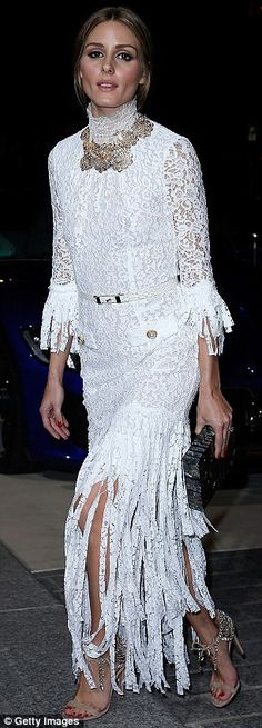Olivia Palermo wore a Victorian-inspired lacy white gown while attending the CR Fashion Book launch party during Paris Fashion Week http://dailym.ai/1oBlZY3 #PFW