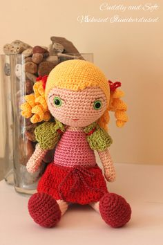 Crocheted doll  Amigurumi girl Maria by CuddlyandSoft on Etsy