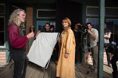 Jane Seymour and William Shockley on the set of Funny or Die