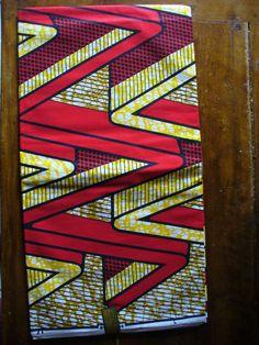 wax 100% coton motifs zig zag rouge et jaune : Tissus Habillement, Déco par nakirucreations