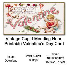 Vintage Cupid Valentine Card Victorian Valentine's Printable Cupid Sewing Heart Clipart Card Instant Vintage Images, Vintage Designs, Victorian Valentines, Valentines Design, Cupid, Art Images, Clip Art, Printables, Etsy Shop