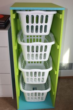 My version of ana white's laundry basket storage. (links back to plans)