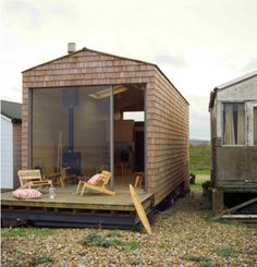Modern beach hut. Seriously, I could live in one of these and feel totally content.