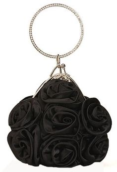 Chicastic Satin Rosette Bridal Bridesmaid Wedding Evening Cocktail Clutch Purse Wristlet Ring Handle Bag - Black Chicastic. $29.99