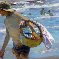 Joaquin Sorolla y Bastida El Pescador 1904 ___ A painter and graphic artist especially known for his lighting effects on canvas and rich coloration, Joaquin Sorolla Y Bastida was from Valencia, Spain. Spanish Painters, Spanish Artists, Claude Monet, Figure Painting, Painting & Drawing, Painting Frames, Art Plage, Comics Illustration, Book Illustrations
