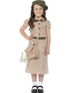 War Time Costume Evacuee Girl Outfit Fancy Dress Theater Children Satchel Berret