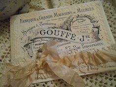 French Advertisement Sewn Shabby Card with Silky Cream Seam Binding, Vintage Lace, and Pearl Pin