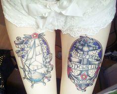 Ship and anchor tattoos