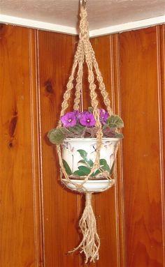 The Violet Macrame Hanger; brings back memories from hippie days
