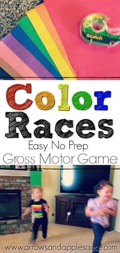 Get those kids moving and learning at the same time with this super easy gross motor game. They'll have fun learning their colors and be ready for a nap after. Let the Color races begin! #grossmotor #colors #learningcolors #preschool #preschoolathome #homeschool #kidsgames #kidsactivities #easykidsgames #noprep #learningathome