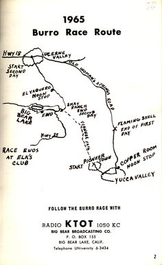 Map of Old Miners Days 1965