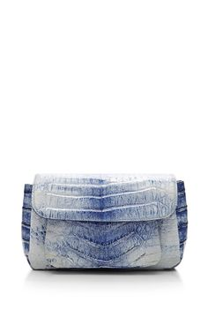 Blue Crocodile Skin Shoulder Bag by Nancy Gonzalez for Preorder on Moda Operandi