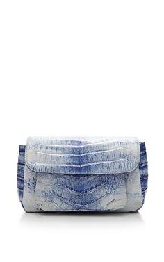 Blue Crocodile Skin Shoulder Bag by Nancy Gonzalez for Preorder on Moda Operandi