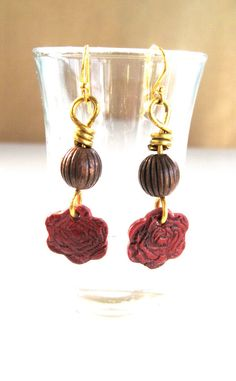 Totally Unique Earrings......  Polymer Clay Rose and Gold Brass Wire Wrap by SarahsArtisanJewelry, $20.00