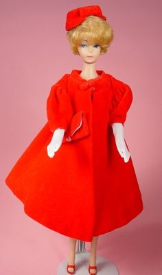 Vintage Barbie Clothing Photo Gallery: Red Flare #939 c. 1962-1965 Modeled by Bubblecut Barbie
