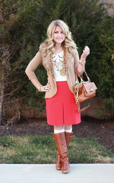 Christmas outfit featuring a J.Crew reindeer tee and red skirt, click through for all the details!