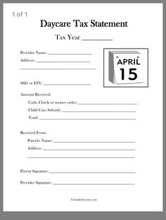 A daycare tax statement must be given to parents at the end of the year. A few c… A daycare tax statement must be given to parents at the end of the year. A few choices of forms to print and use immediately. Check through all the other forms too! Daycare Rooms, Home Daycare, Daycare Crafts, Daycare Ideas, Daycare Games, Daycare Schedule, Kids Daycare, Daycare Contract, Opening A Daycare