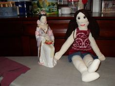 Doll    Handmade rag doll with brown hair by MsMartyD on Etsy, $40.00