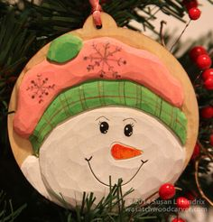 Handcarved, Carved Snowman, Wood Carved Ornament, Woodcarving, Wood Carving…