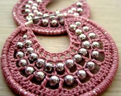 Crocheted hoops with beads in romatic pink