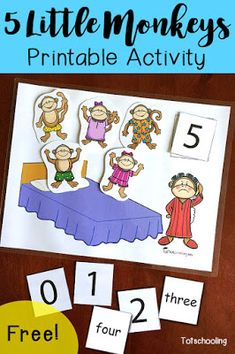 FREE 5 Little Monkeys activity for counting, learning numbers and number words. Rhyming Activities, Counting Activities, Toddler Learning Activities, Book Activities, Montessori Activities, Nursery Rhymes Preschool, Preschool Math, Toddler Preschool, Toddler Games