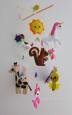 love the unicorn! Baby Mobile  Mobile  Crib mobiles  Felt Animal by lovelyfriend, $88.00