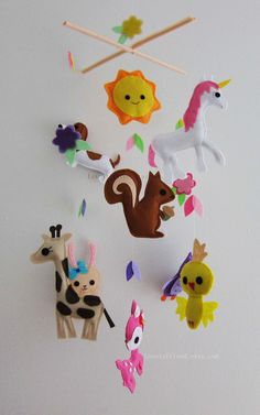 Baby Mobile Nursery Mobile Unicorn and his por lovelyfriend