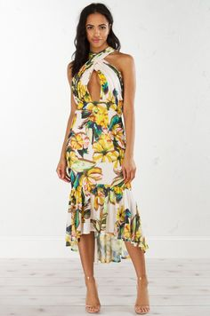 b79e23d94c Floral Mermaid Dress in Cream Yellow