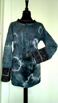 Dámska vyšívaná batikovaná blúzka s kožou by LaMutti - SAShE.sk - Handmade Košele