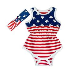 97044d07de49 4th Of July Outfit Romper Bubble Patriotic Baby Girls Red White Blue 6 12 M