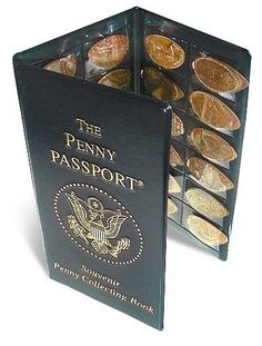 The Penny Passport souvenir penny collector books. - A great way to protect and display your elongated coins.  $6.95