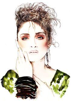 Madonna 80's Icon watercolour illustration by MichaelJIllustration