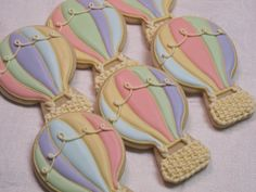 Hot Air Balloon Decorated Sugar Cookies - Balloon Theme Cookie Favors, Birthday Party Favors, Baby Shower Cookies, Custom Cookies