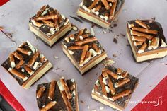 Homemade Snickers bar with pretzel topping