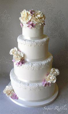 Rose and Hydrangea Wedding Cake, via Flickr.