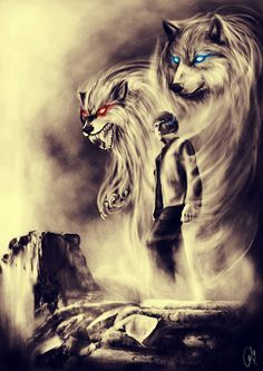 Wolf Spirit>> Hati and Skoll Norse gods Anime Wolf, Wolf Tattoos, Wolf Spirit, My Spirit Animal, Fantasy Wolf, Fantasy Art, Dark Fantasy, Fantasy Creatures, Mythical Creatures