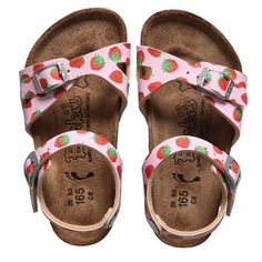Little Girl Birks - Girls Pink Strawberry Print Sandals (Tavalu) | Childrensalon