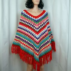 70's Hand Knitted Poncho - Striped Sweater Cape S - M - L