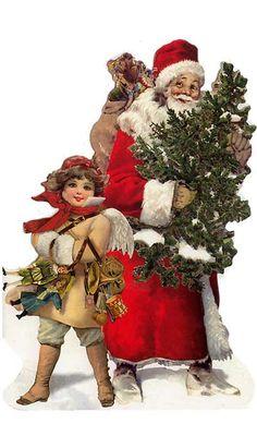 Die cut Santa and angel Christmas card, made in Germany