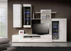 mueble apilable de salon blanco Modern Tv Cabinet, Tv Cabinet Design, Tv Unit Design, Wall Painting Decor, Tv Wall Decor, Bedroom Closet Design, Tv In Bedroom, Living Room Tv Unit, Home Living Room
