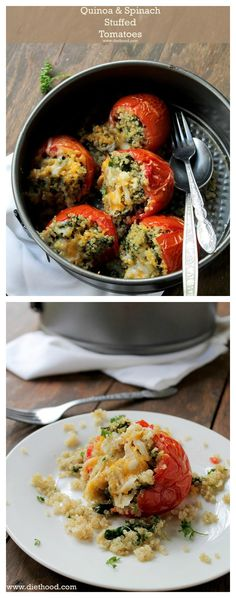 Quinoa and Spinach Stuffed Tomatoes   www.diethood.com   Baked tomatoes stuffed with quinoa and spinach, and topped with a delicious mixture of cheeses.   #quinoa #healthy #recipes