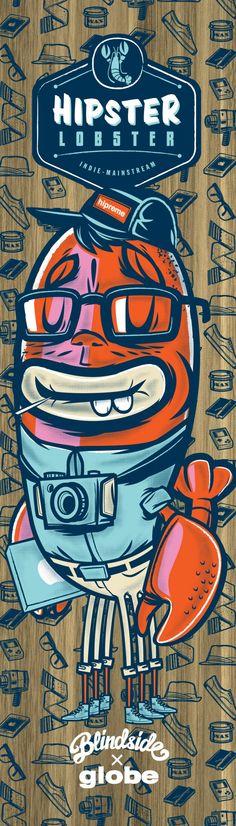 Hipster Lobster Skateboard by Travis Price