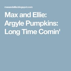 Max and Ellie: Argyle Pumpkins: Long Time Comin'