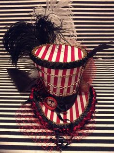 Circus Striped Ringmaster Mini Top Hat Fascinator on Etsy, $50.00