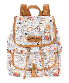 Gray & Red Owl Backpack